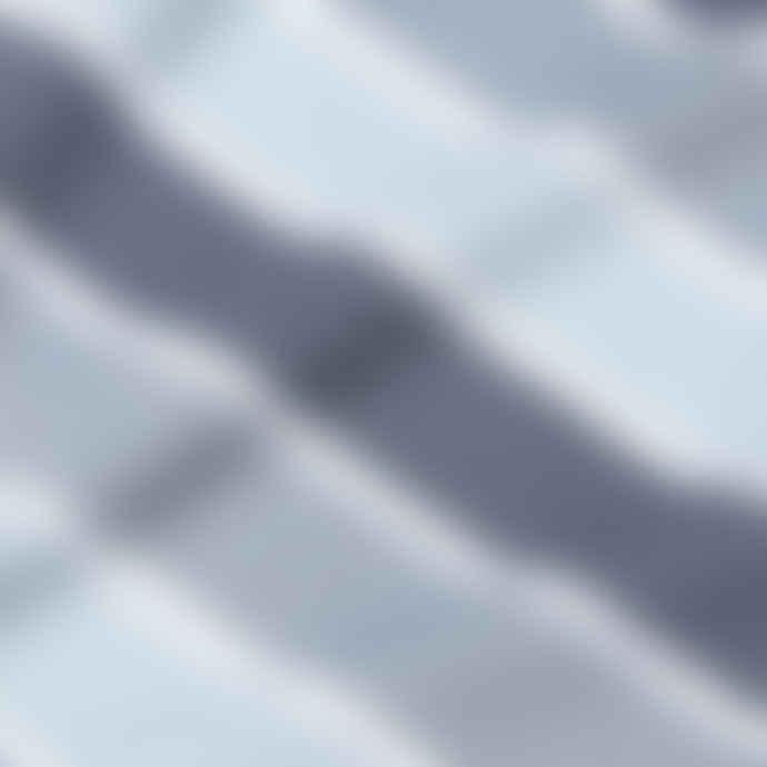 Sunspel Classic Crew T Shirt Blue Slate Blue Steel Ice White Three Colour Stripe