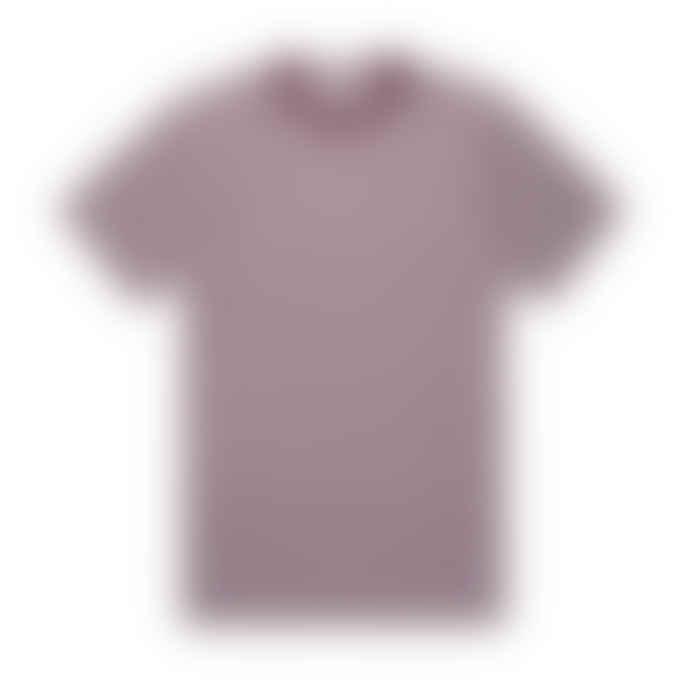 Sunspel Classic Crew T Shirt White Maroon English Stripe