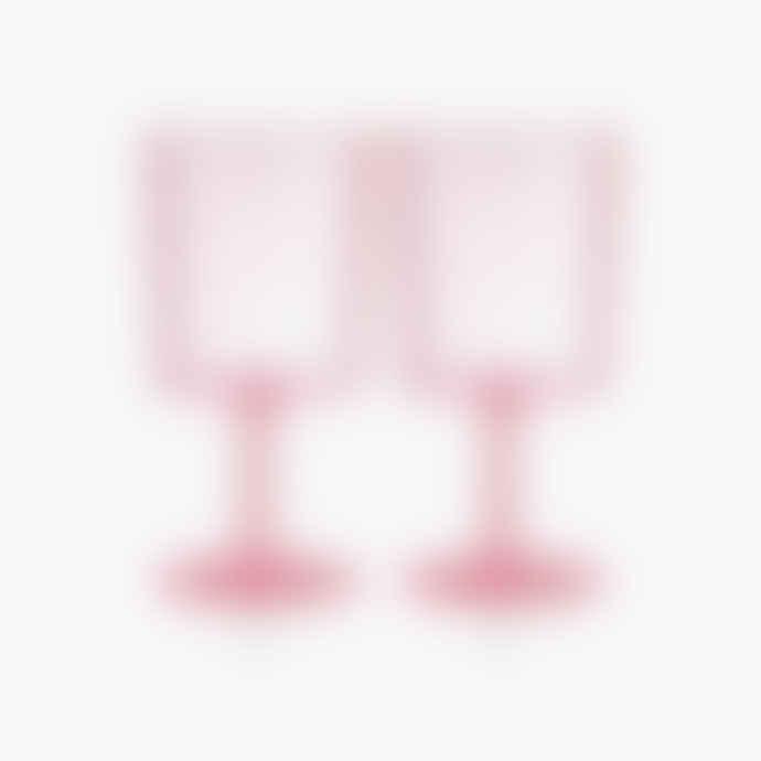 Maison Balzac Set of 2 Pink Wine Glasses