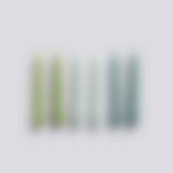 HAY Spiral Candles 6 Pk Green Artic Blue Teal