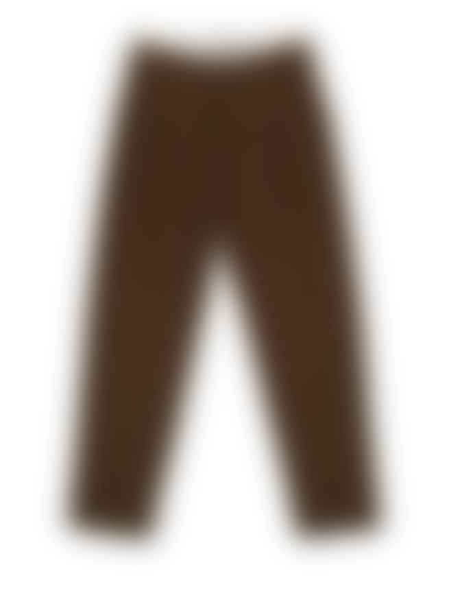 Outland Pleats Wool Pants Brown Melange Handcrafted In Portugal Last Piece