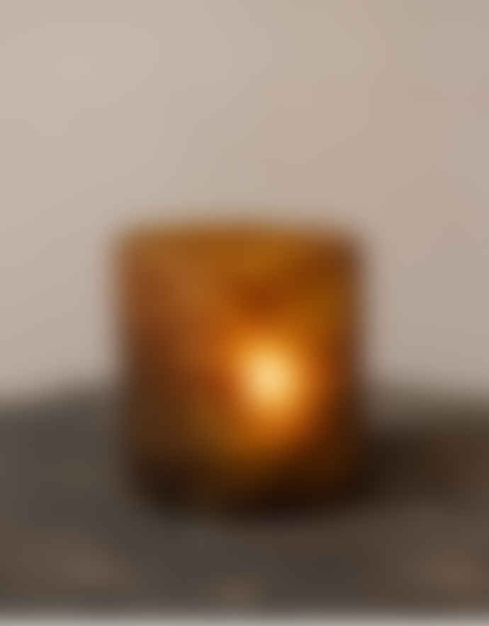 Busby & Fox Small Amber and Gold Etherea Glass Tealight Holder