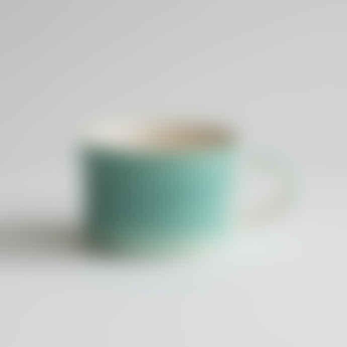 Musango Mint Scraffito Stripe Wide Mug