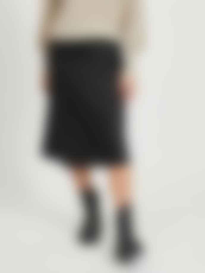 Vila Shiny Midi Skirt Black