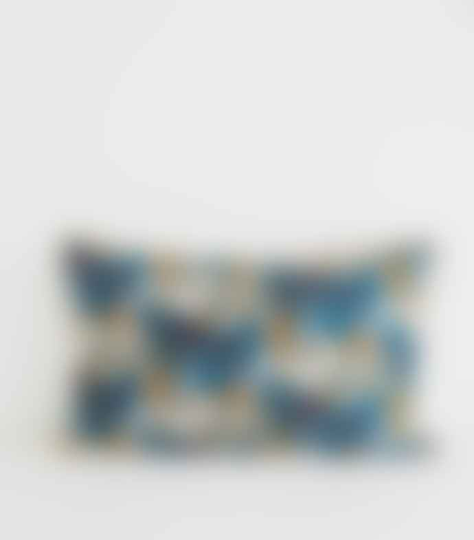 Jamini Iris Denim Blue Printed Cushion Cover