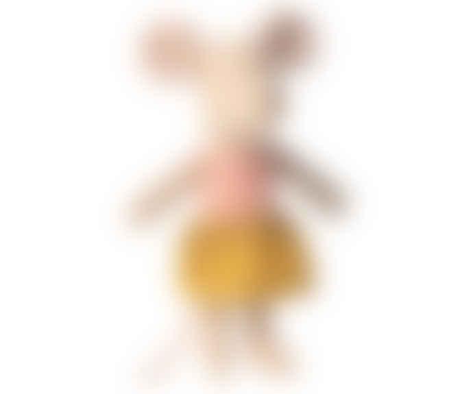 Maileg Little Sister Mouse In Matchbox Yellow Skirt