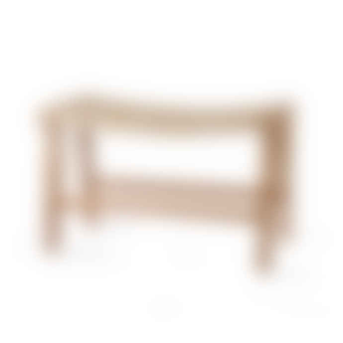 HKliving Stool 65x40x41,5cm in Natural Teak Wood and Rope Seat