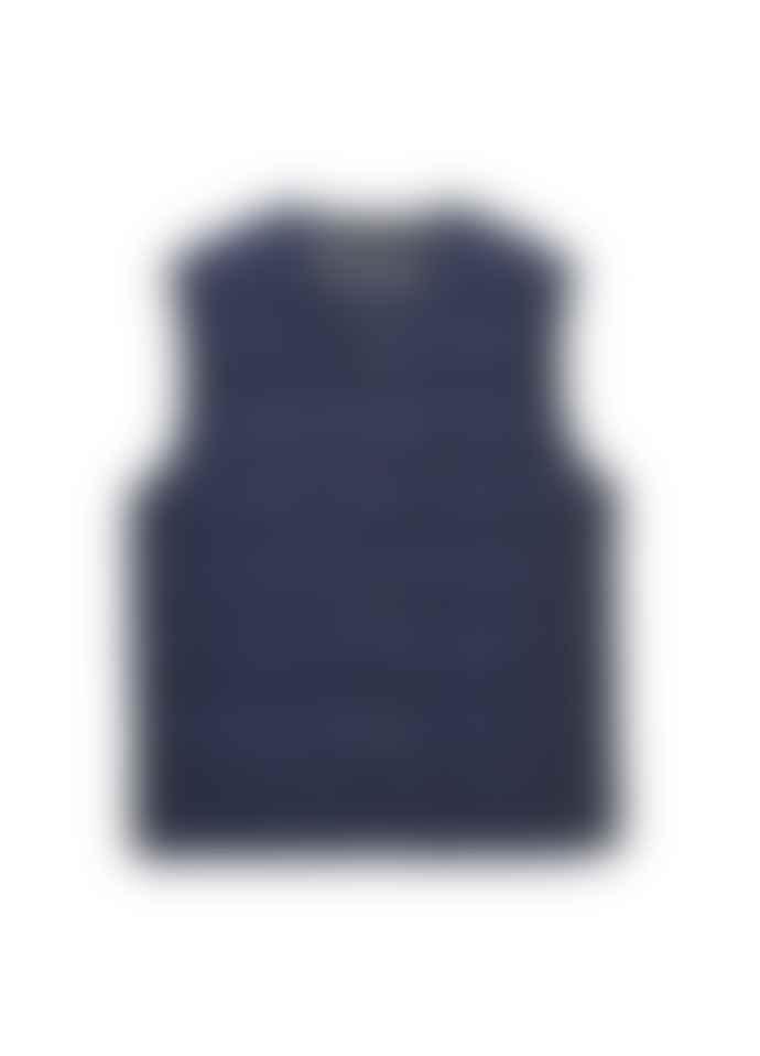 Taion V Neck Button Vest Navy