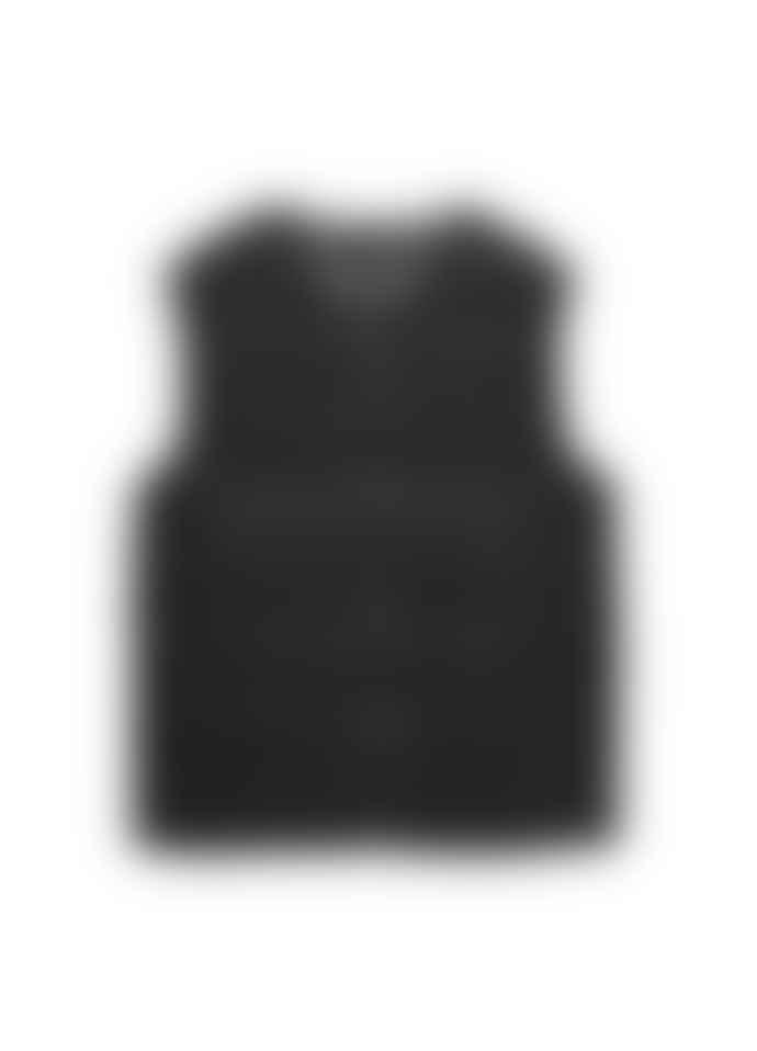 Taion V Neck Button Vest Black