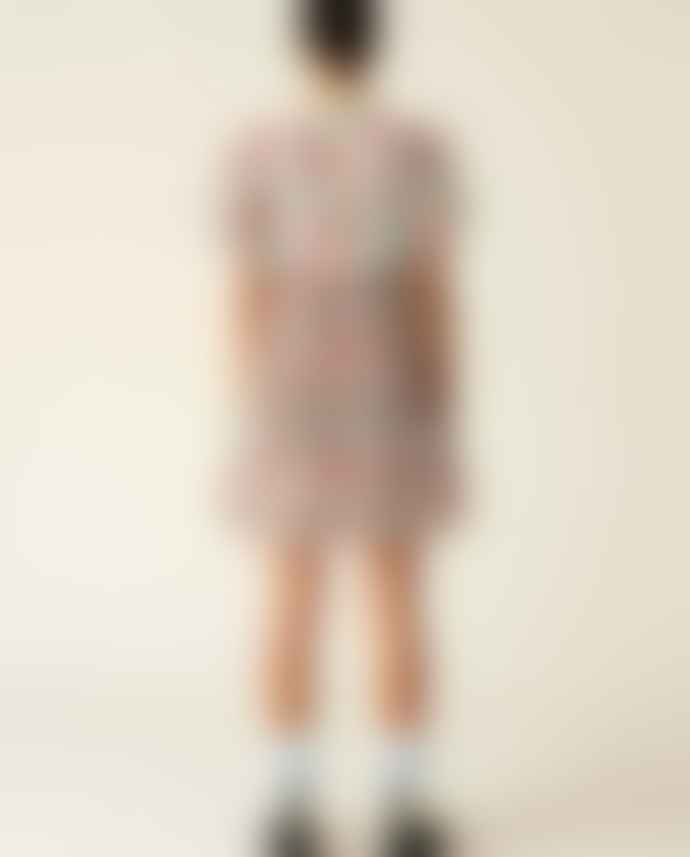 Ganni Pleated Georgette Mini Dress Floral