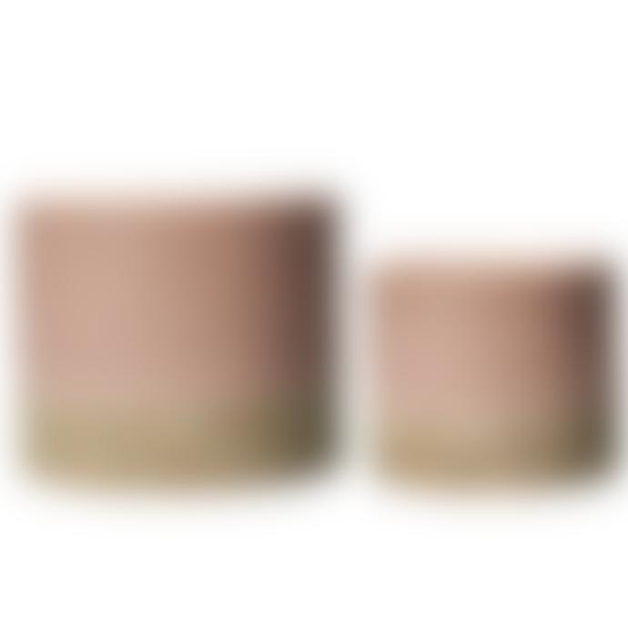 Wikholm Form Pink & Natural Glazed Ceramic Pot - Large
