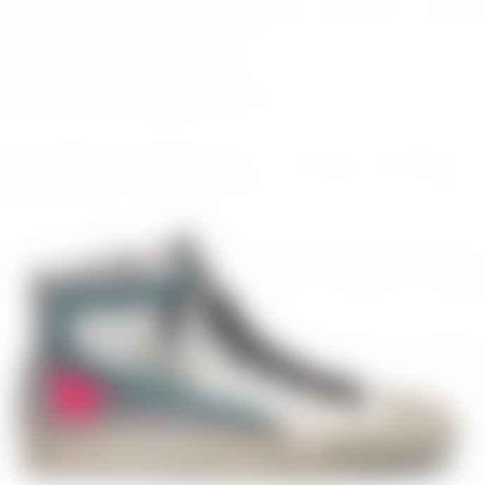 Golden Goose Deluxe Brand White Leather Silver Glitter Slide Sneakers
