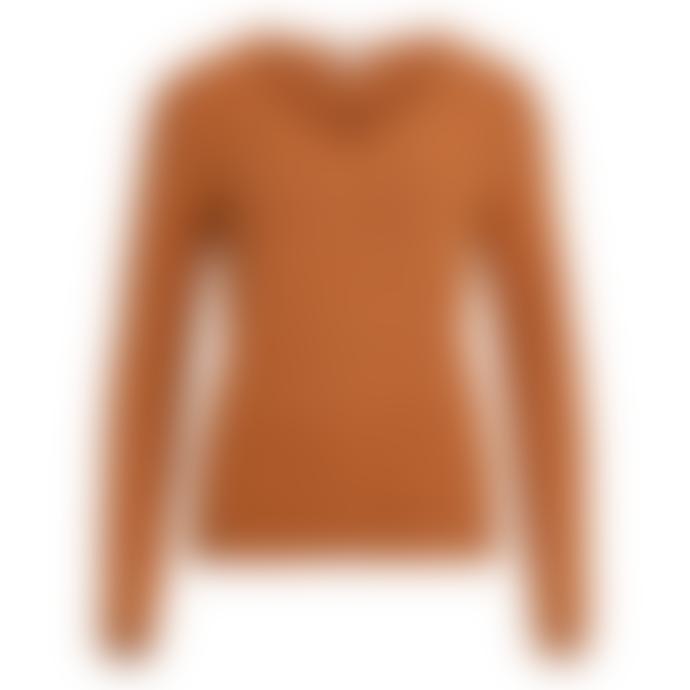 Vila V-Neck Viril Sweater Camel