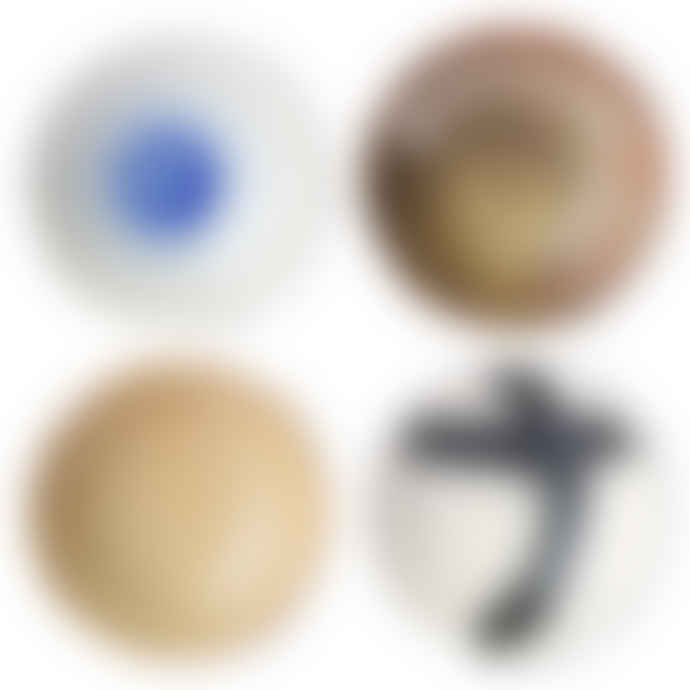 HKliving Kyoto Ceramics Japanese Shallow Bowl Set of 4