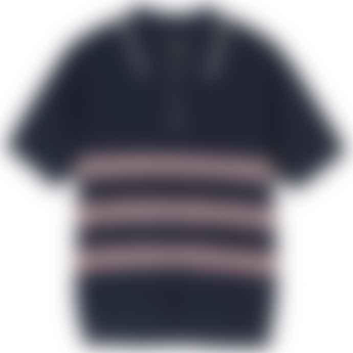 Stüssy Navy Blue Montego Stripe Polo