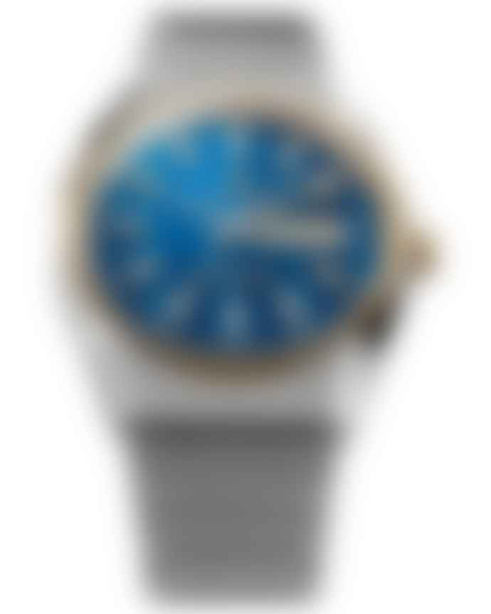 Timex Blue and Gold Stainless Steel Q Falcon Eye Reissue Watch