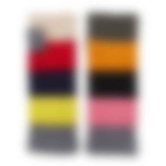 Somerville Colour Block Print Cashmere Wrist Warmers