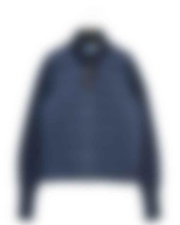 Taion Navy Hi Neck Knitted Sleeve Jacket