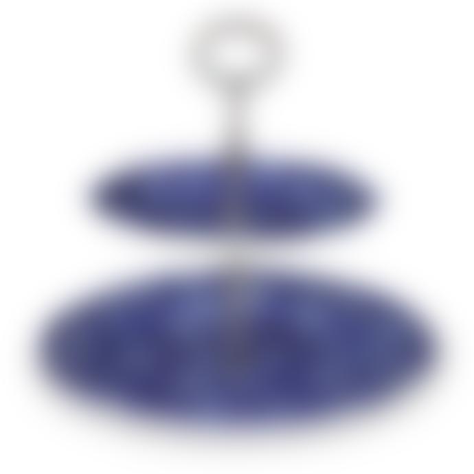 Burleigh Blue Calico 2 Tier Cake Stand