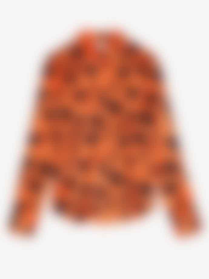 Ganni Silk Stretch Satin Shirt Flame