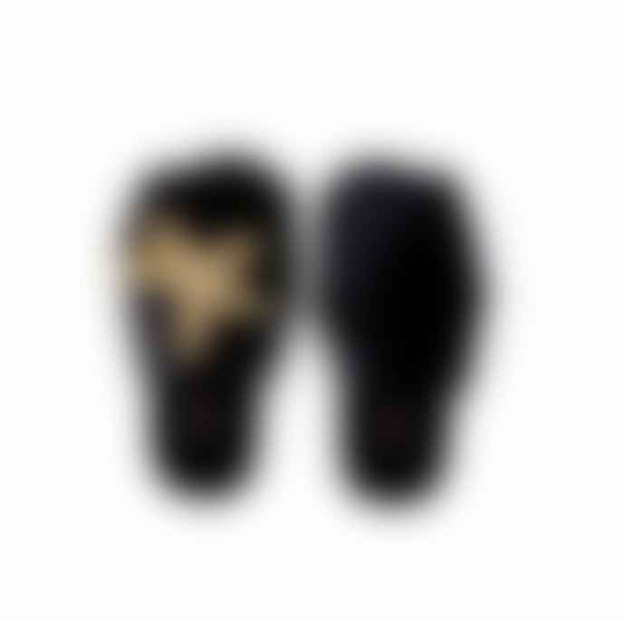 Laines Black Golden Starfish Slippers