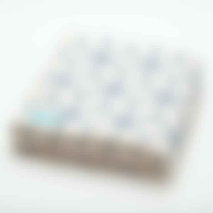 Atlantic Blankets Geometric Recycled Cotton Blanket Blue