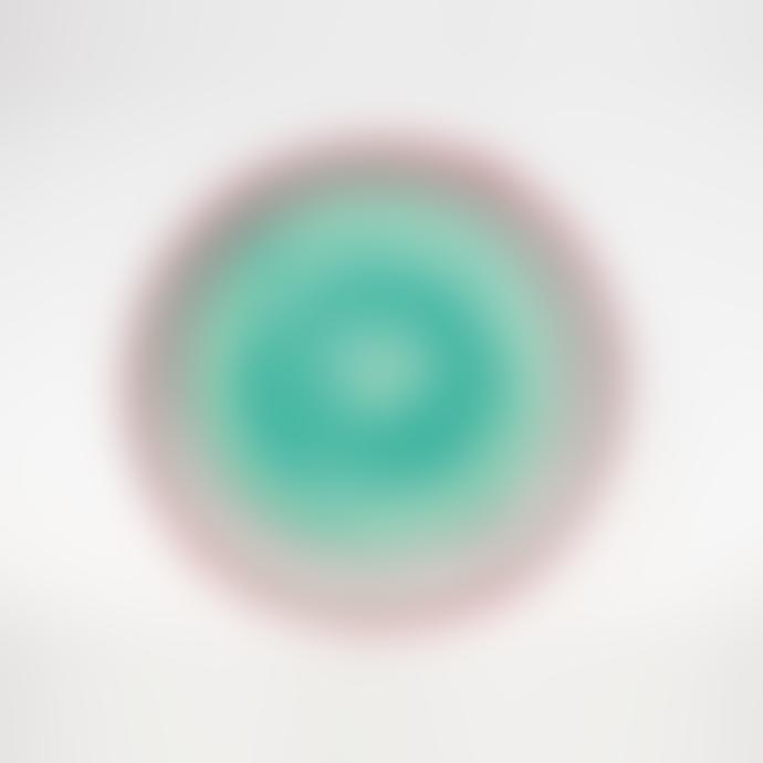 Pura Cal Green Aqua, Pink & Grey Stripes Handmade Terracota 24CM Plate