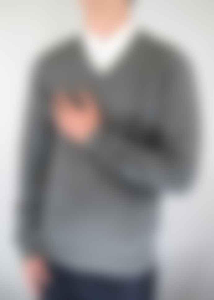 Gabicci Vintage Brandon Grey Knitted V Neck Jumper