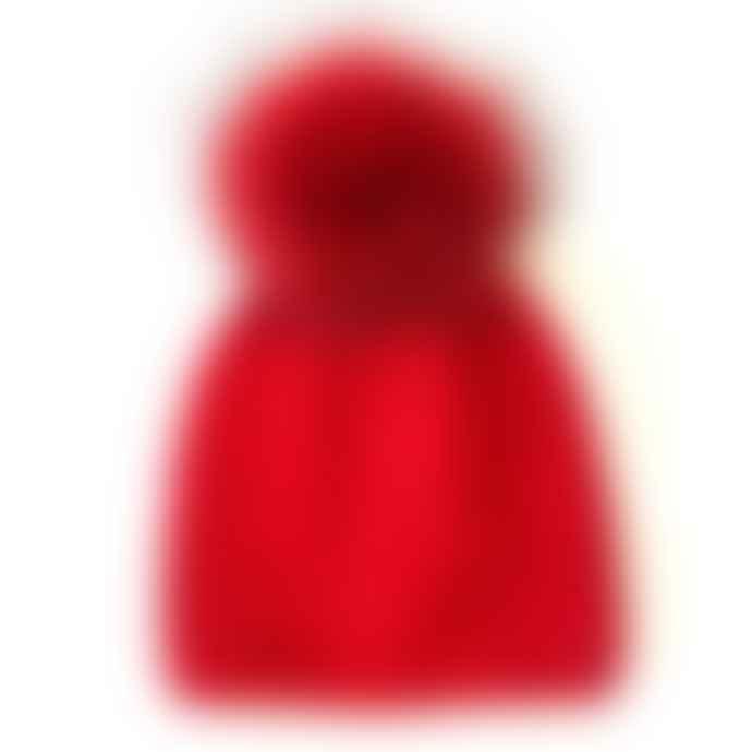 Alex Max Red Jewelled Pom Pom Hat