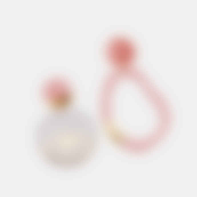 Poli Studio Porcelain Earrings with 24k Gold Ornaments - Pink