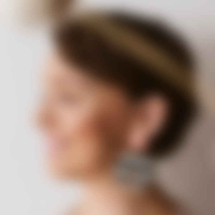 Poli Studio Porcelain Earrings with 24k Gold Ornaments - Stripes