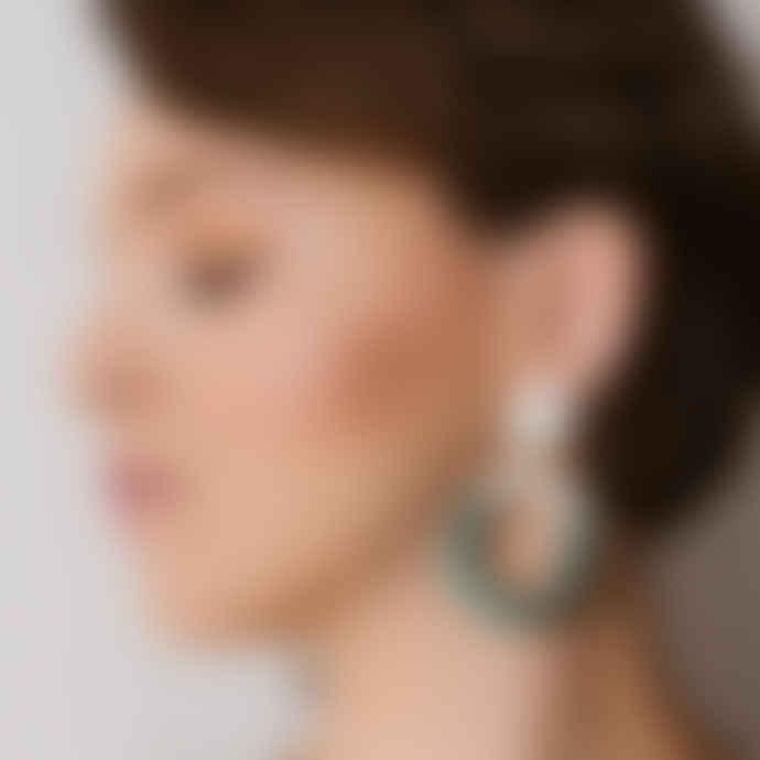 Poli Studio Porcelain Earrings with 24k Gold Ornaments - Emerald