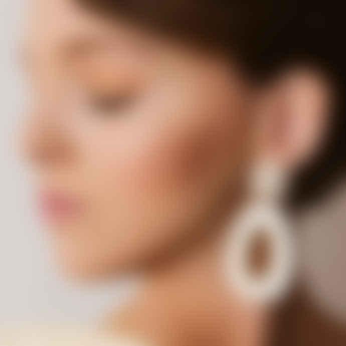 Poli Studio Porcelain Earrings with 24k Gold Ornaments - Beige