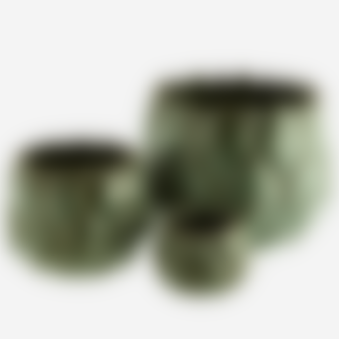 Madam Stoltz Small Green Leaf Textured Pot