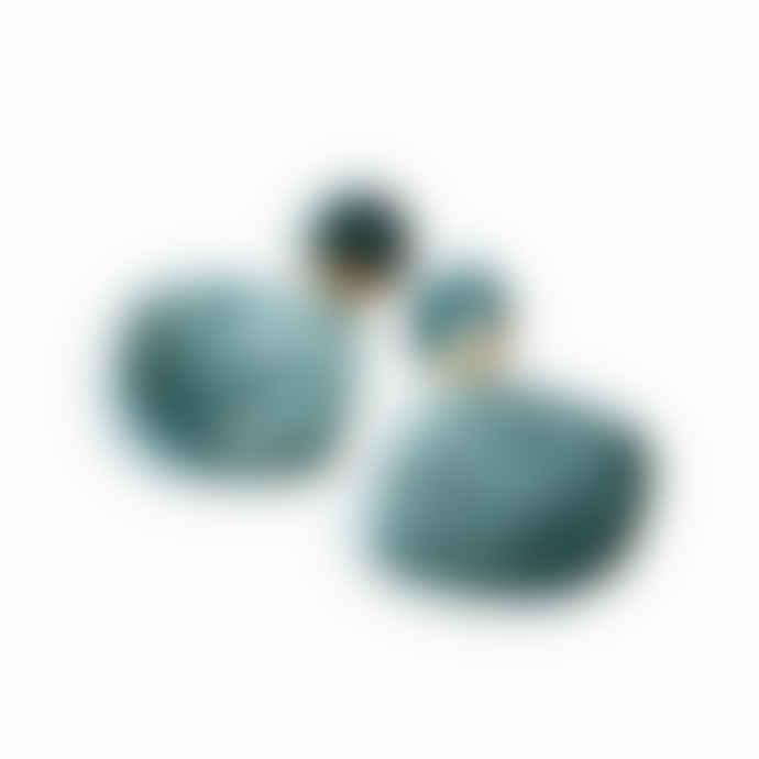Poli Studio Porcelain Earrings with 24k Gold Ornaments Emerald