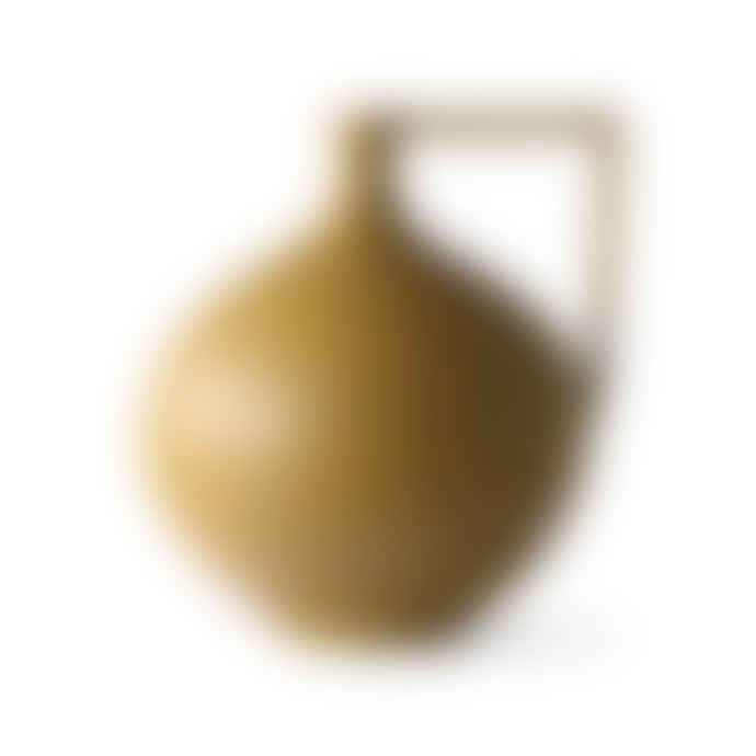 HKliving Vase with Handle 26x23x26.5cm in Ochre Ceramic