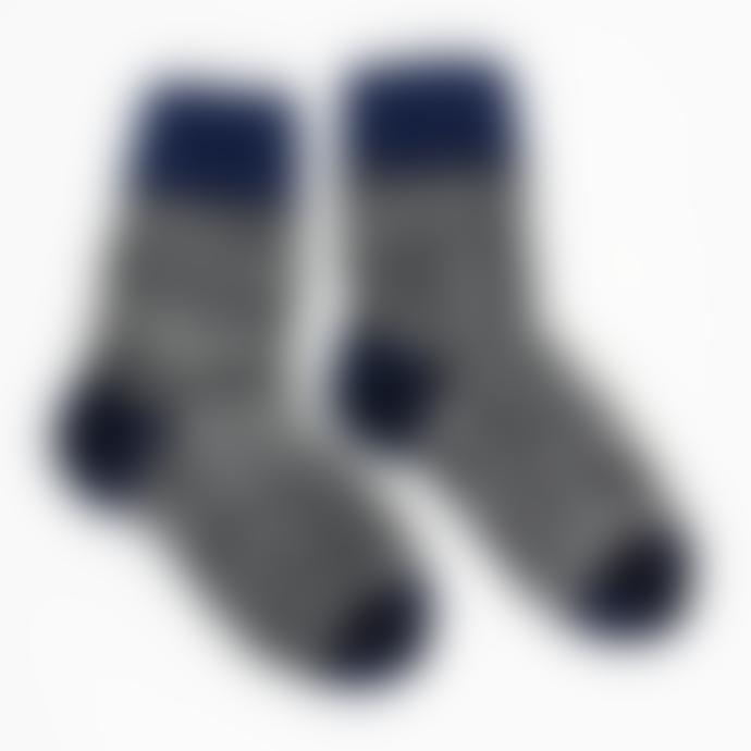 Afroart Blue/Black/White Handknitted Zigzag Wool Socks
