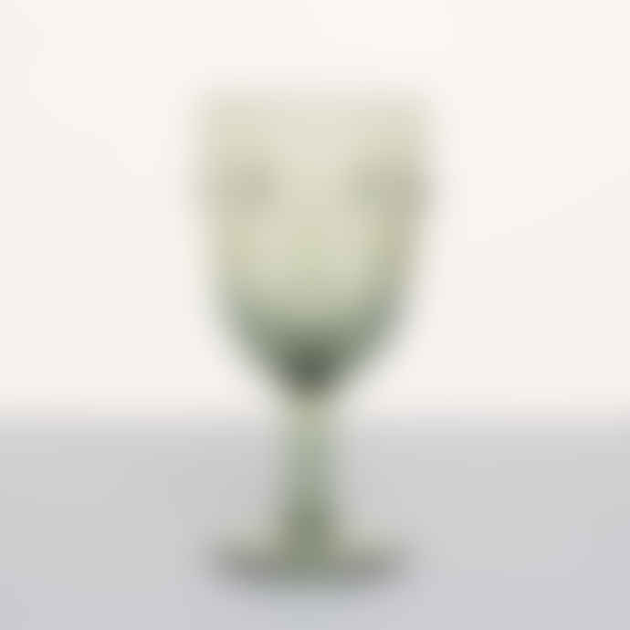 McGowan & Rutherford Green Glass Deco Face Wine Glass