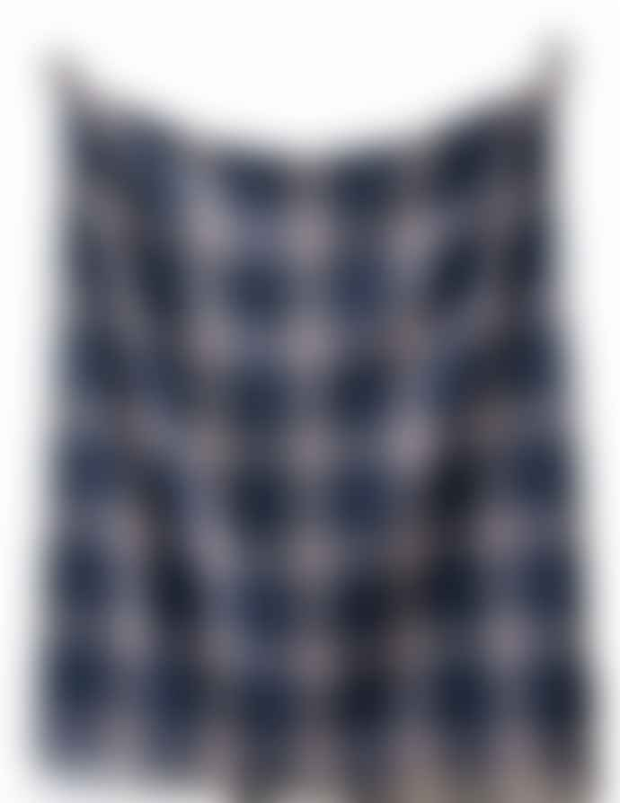The Tartan Blanket Co. Large Recycled Wool Blanket / Throw In Douglas Navy Tartan