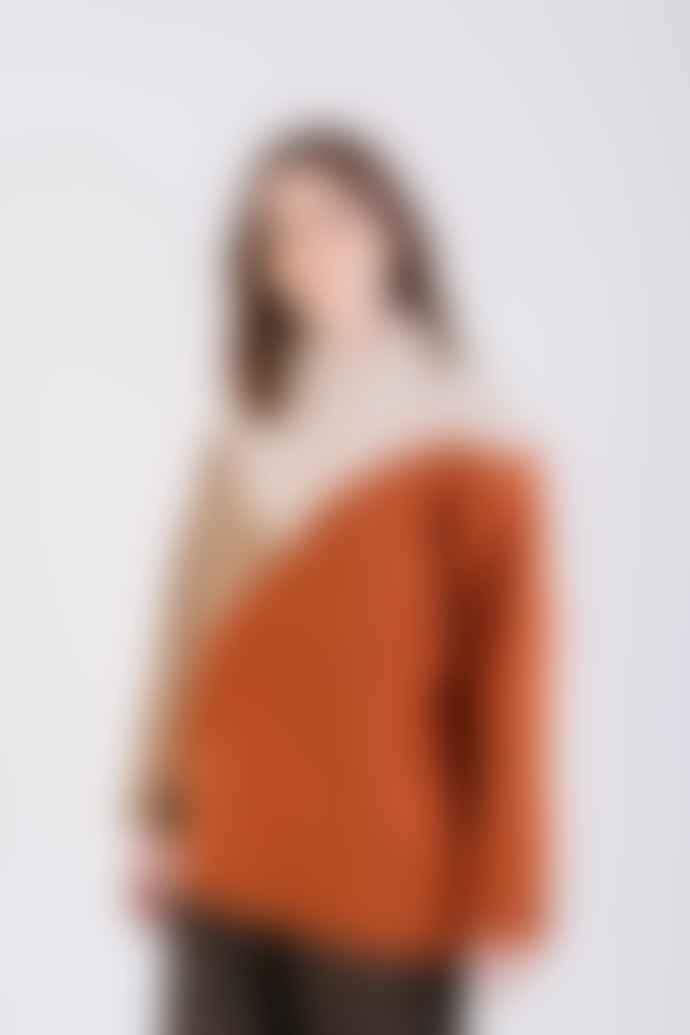 Naz Seia Chunky Sweater Orange & Beige
