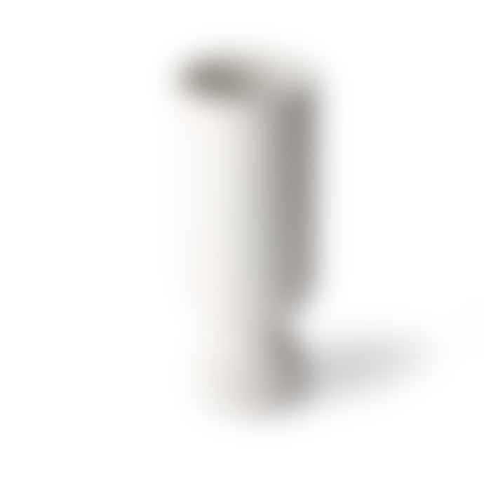 HKliving White Ceramic Flower Vase with Ribbed Base