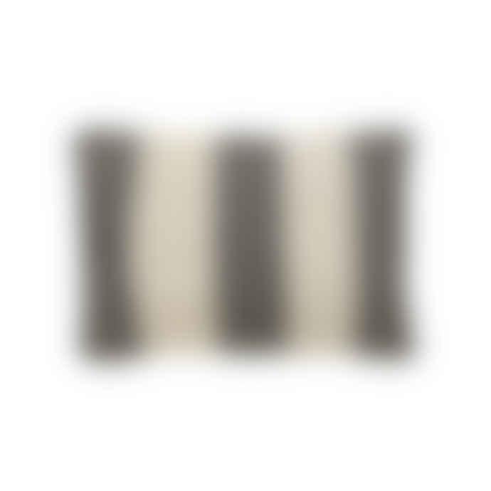 Hubsch Cushion w/pattern/filler, cotton, white/black