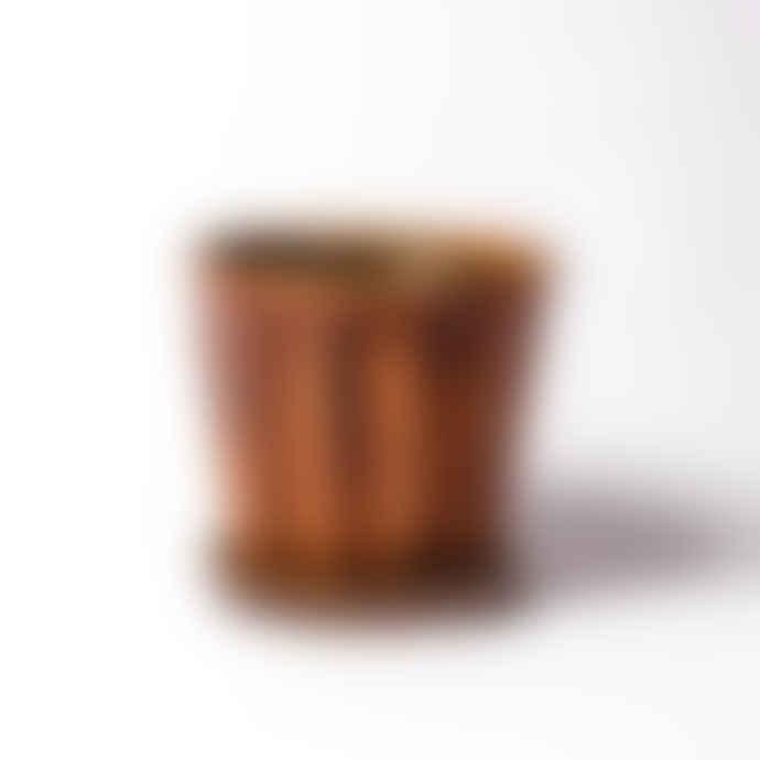 Wikholm Form Warm Brown Ceramic Pot & Saucer - Small