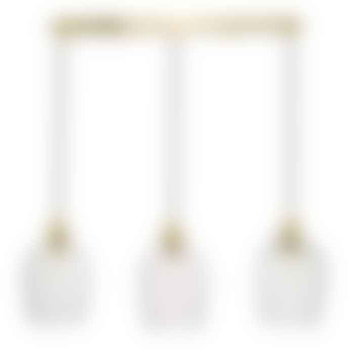 Persora Hadano 3 Light Brass Suspension With Dimpled Glass Shades