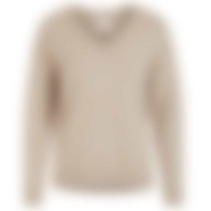 Vila Taupe Viril Oversized V-Neck Sweater