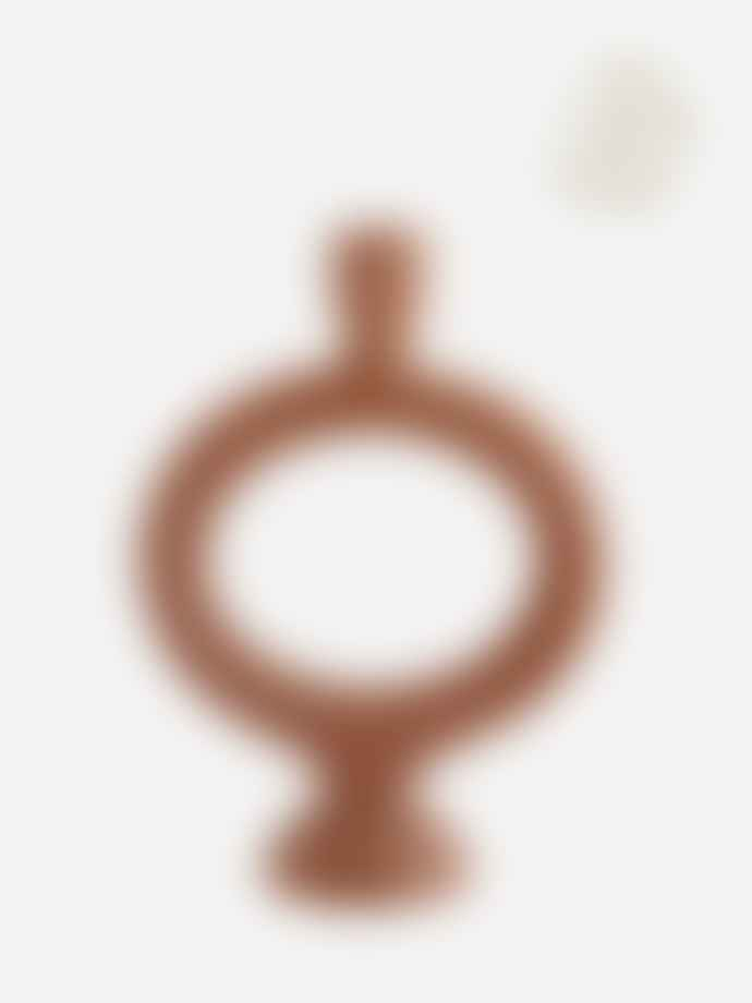 Madam Stoltz Oval Stoneware Candle Holder Brick