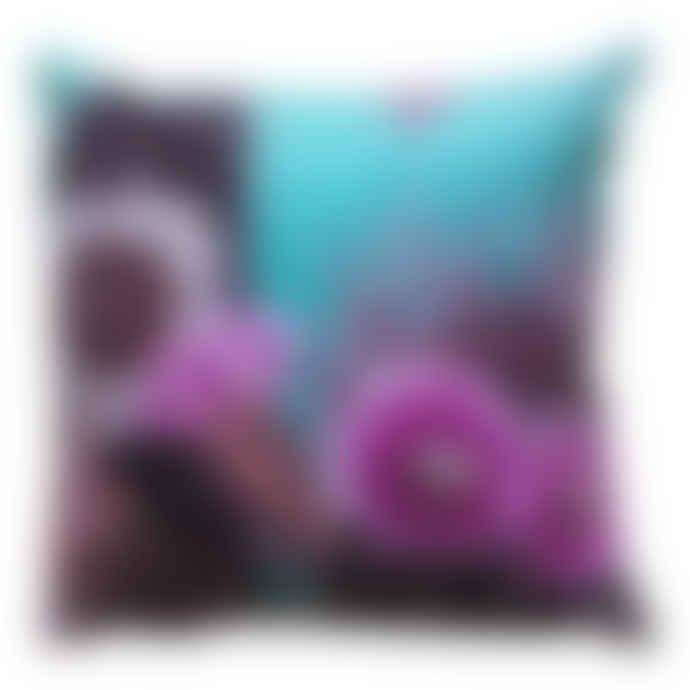 Diana Wilson Arcana Turquoise Velvet Cactus Cushion - Large