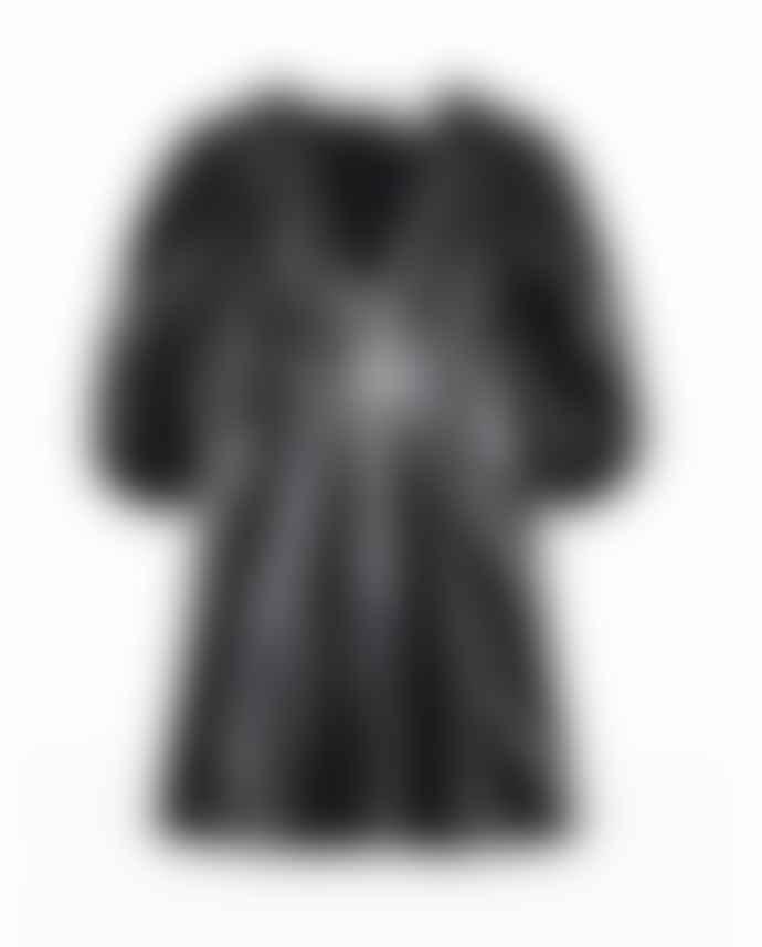 Ganni Lamb Leather Mini Dress Black