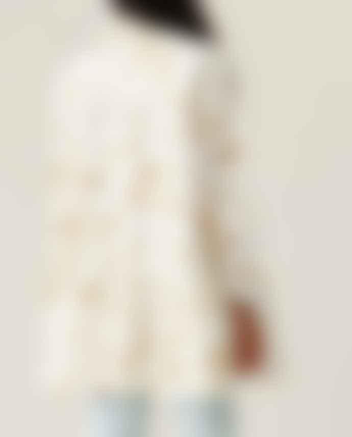 Ganni Printed Cotton Poplin Oversize Dress Cognac