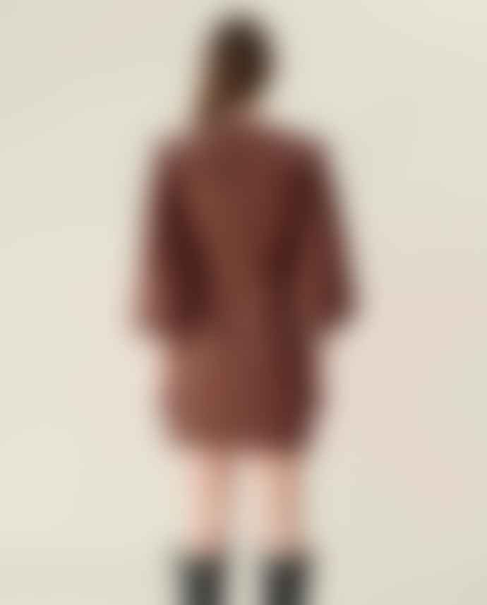 Ganni Seersucker Check Mini Dress Flame